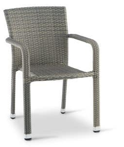 PL 730, Chair with armrests in woven aluminum, for outdoors
