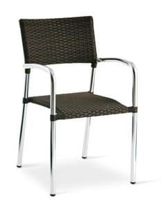 PL 732, Aluminum chair, stackable, woven, for bars