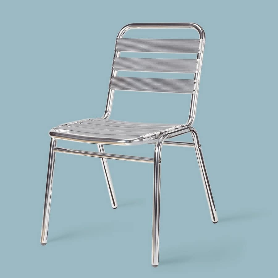 SE 060, Polished aluminum chair, for outdoor