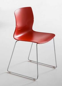 Slot S, Design chair with sled base in chrome metal