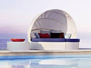 Arena round sofa w/capote, Round sofa, hand made woven, for beaches and pools