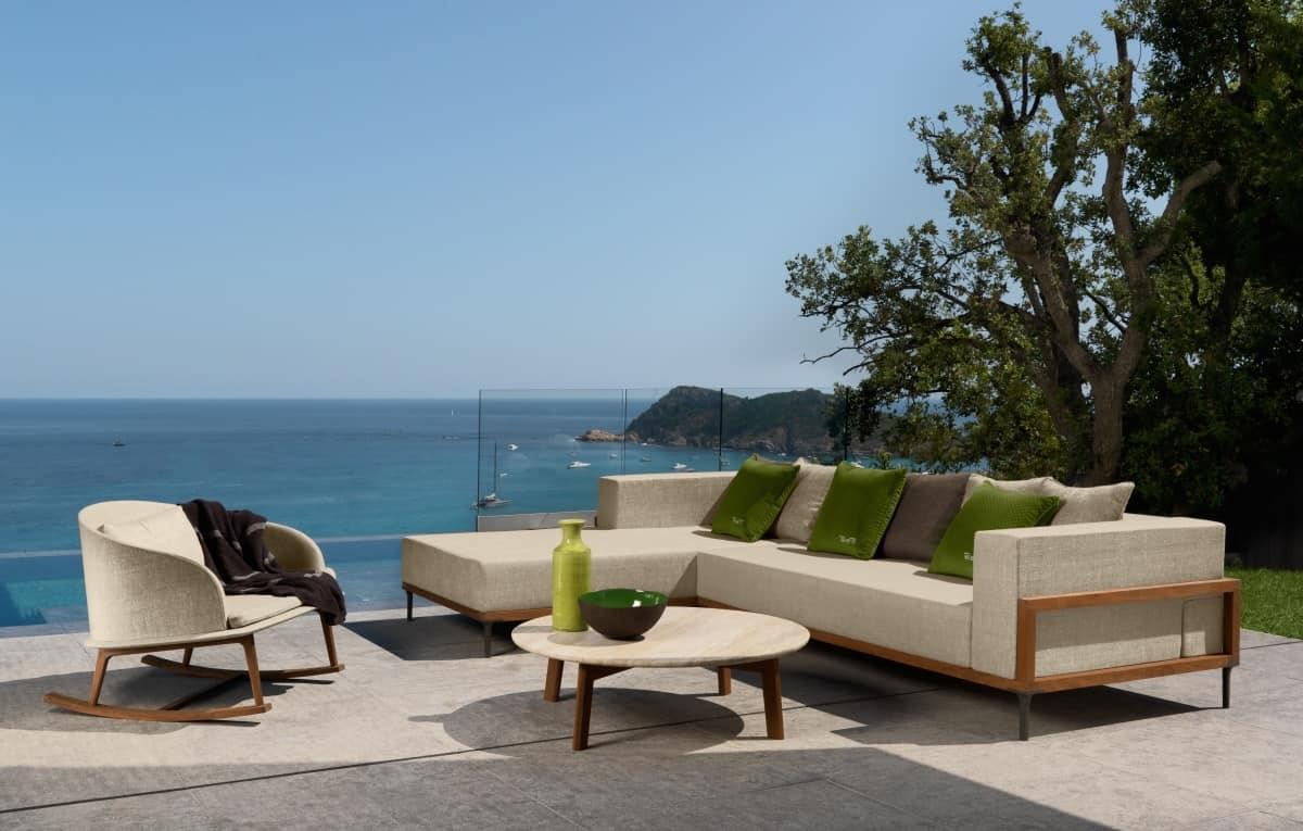 sofa modular outdoor structure made of teak idfdesign