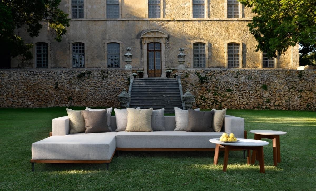 Sofa modular outdoor structure made of teak