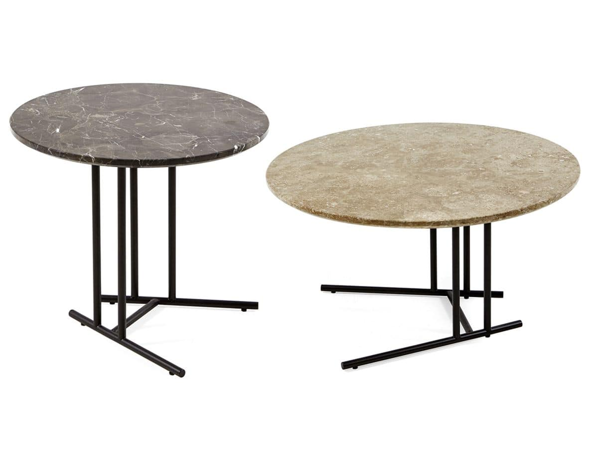 Round Small Table With Painted Steel Base For Outdoors Idfdesign