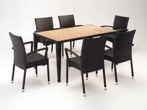 FT 2025.160 - London, Table and chair with armrests, various colors, for outdoors