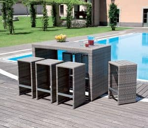 BAR92, Outdoor furniture set, in wicker, for bars and ice cream parlor
