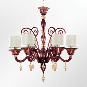 Americano LT0515-6-M2V, Design chandelier in amethyst colored glass