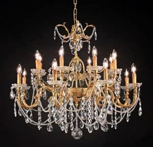 Art. 680/8+8, Luxurious chandelier with crystal decorations