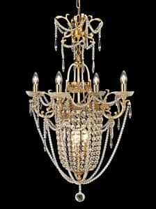 Art. 680 CR 4+3, Precious chandelier made of brass and crystal