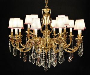 Art. 7951/10+5 Cp, Large crystal and brass chandelier