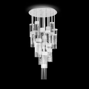 Bebop PL6550-12-CW, Ceiling lamp with worked crystal pendants