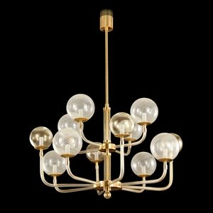B&L-BD1025-8+4-KW, Chandelier with blown glass spheres