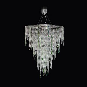 Circus SS4065-75�90-N-G, Suspension lamp with transparent and green crystals