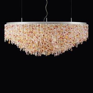 Circus SS4170E-120x80x55-N1-P, Oval suspension lamp in colored crystal