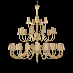 Dandy DP0354-20+10+5-VAW, Chandelier with lampshades in cotton, in Murano glass