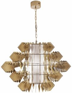 Diamante new lamp, Chandelier with steel leaves, pale gold finish
