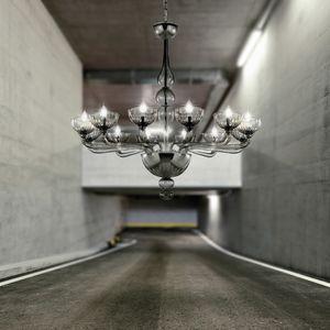 Edgar L0375-12-D, Glass chandelier in light gray color