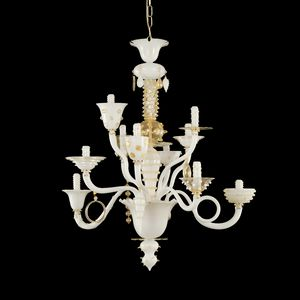 Goblin L1075-10-WCK, Chandelier white and gold leaf, Venetian style