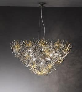 Ispirazione ceiling lamp, Lamp in modern style, finishing in nickel, chrome and gold