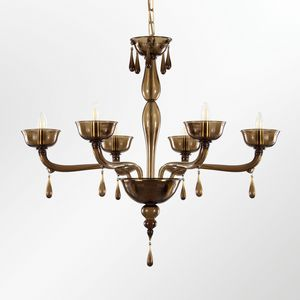 Portofino L0356-6-F2, Venetian glass chandelier with hanging drops