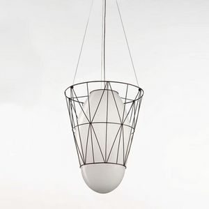 Segni Ms434-040, Suspension lamp in metal rod and white glass