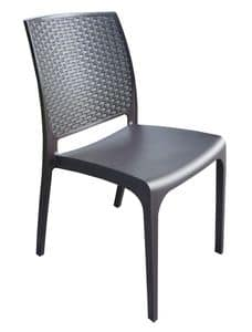 CHAIR CROSS, Bar chair in poly rattan, stackable, for outdoors