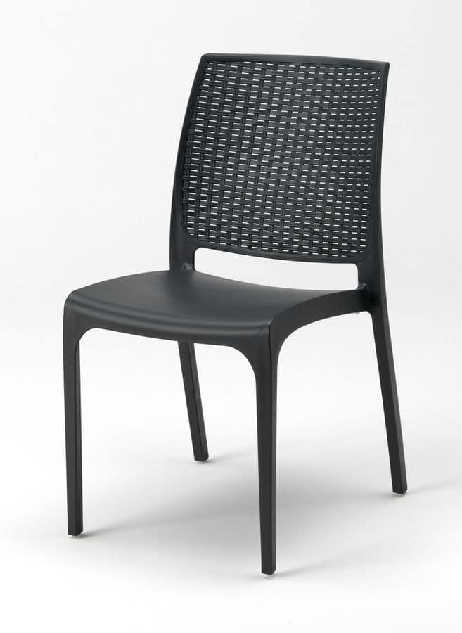 Stackable plastic chair for outdoor and gardens