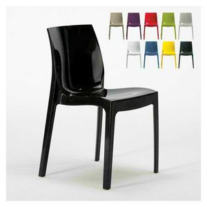 Glossy home kitchen chair ICE - S6317, Chair in shiny plastic, stackable and economical, available in various colors