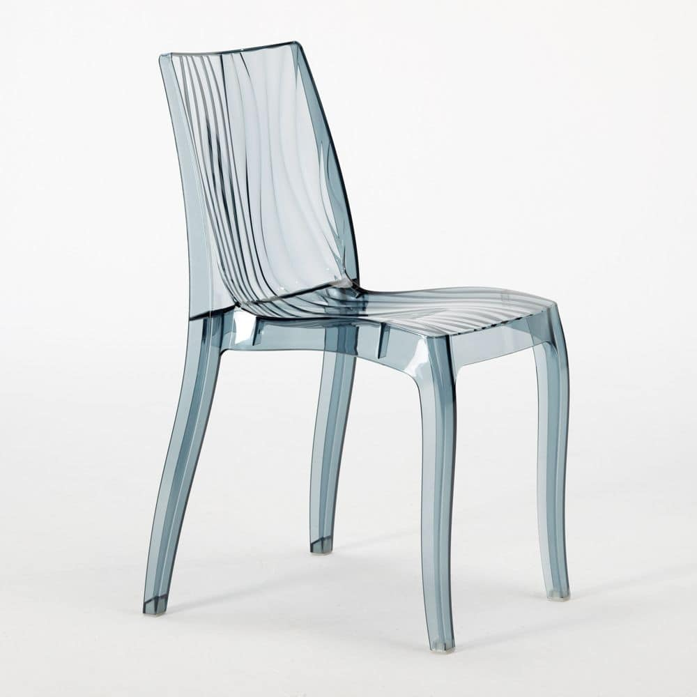 stackable chair made of translucent polycarbonate, for indoor and