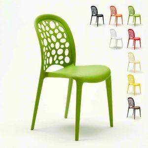 Stackable garden bar kitchen chairs Design WEDDING HOLES MESSINA - SW609PP, Colored polypropylene chair for garden
