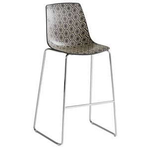 Alhambra Stool ST, Barstool in metal and polymer, sled base