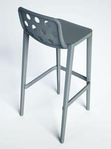 Isidoro 66, Stackable barstool made of polymer, for bars and hotels