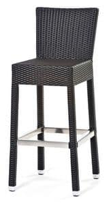 Lotus sgabello 1, Stool in metal and synthetic fiber, comfortable and stylish
