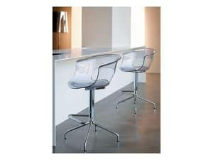 Miss b stool h.65, Barstool with fixed structure, in steel and acrylic