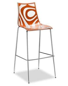 Wave H, Metal and polypropylene stool, seat at 65 cm or 80 cm
