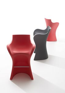 Woopy s, Elegant stool in polyethylene, for indoor and outdoor