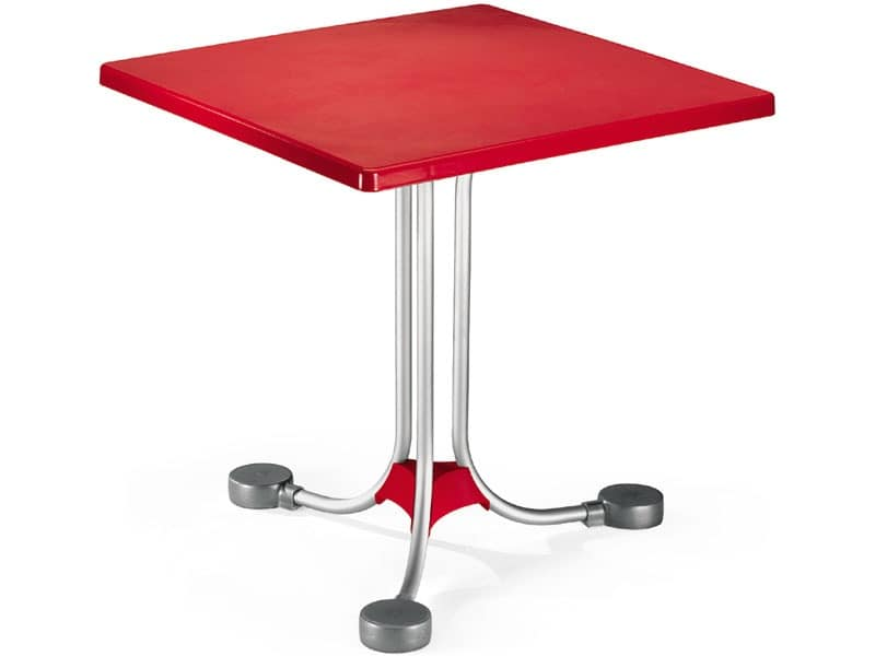 Table 72x72 cod. 06, Square coffee table with base in aluminum counterweights