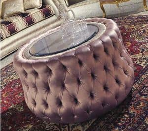 Biscuit, Pouff upholstered in tufted, round crystal glass top
