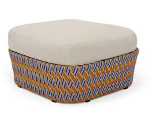 Kente pouf, Pouf with pillow, multicolored weaving, for patio