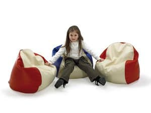 PALLINO, Beanbag for children, covered in imitation leather, for the children's room and kindergarten