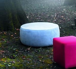 ROLLY big pouff, Large circular pouff, upholstered in various colours