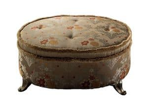 Sinfonia Pouf Palace, Oval upholstered ottoman with metal feet, luxury classic