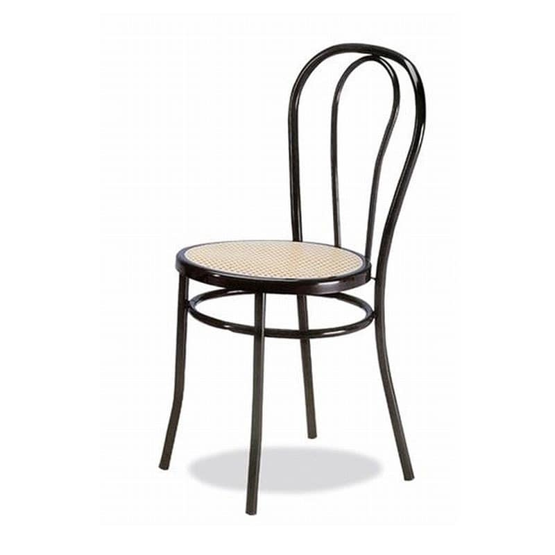 002, Chair in curved metal, sitting in Vienna straw
