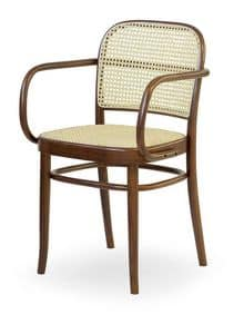 06/CB, Wooden chair with seat and backrest made of cane, for bars
