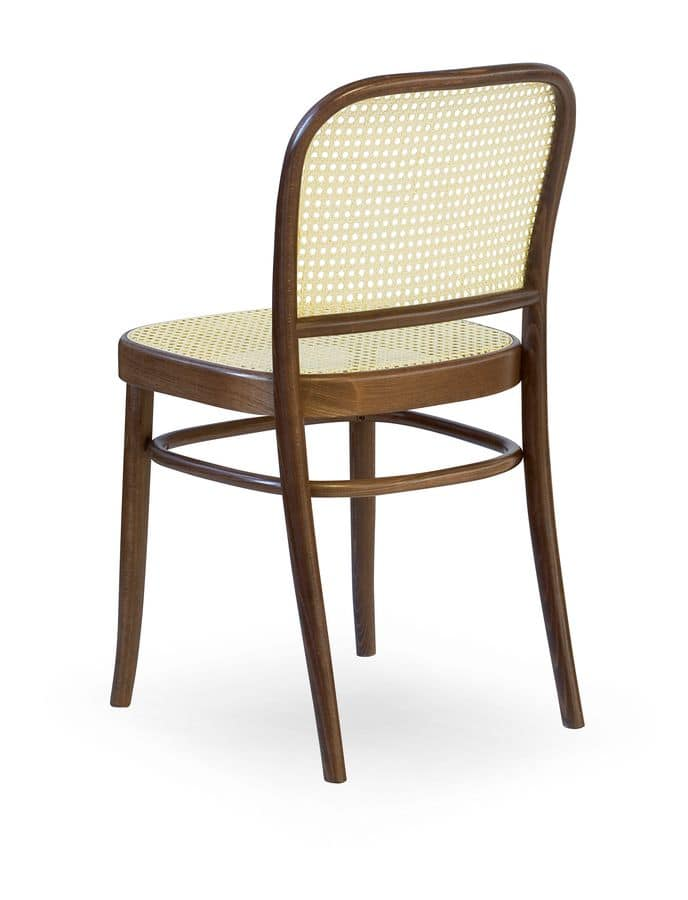 06, Wooden chair with seat and backrest in cane