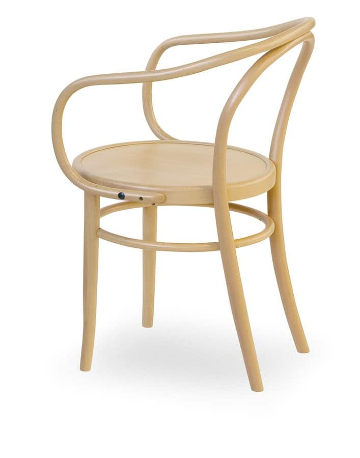 08, Armchair made of wood with seat made of cane