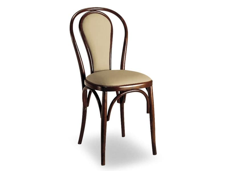108, Wooden chair with padded oval backrest