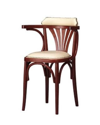 134, Chair with armrests, curved wood, rustic style