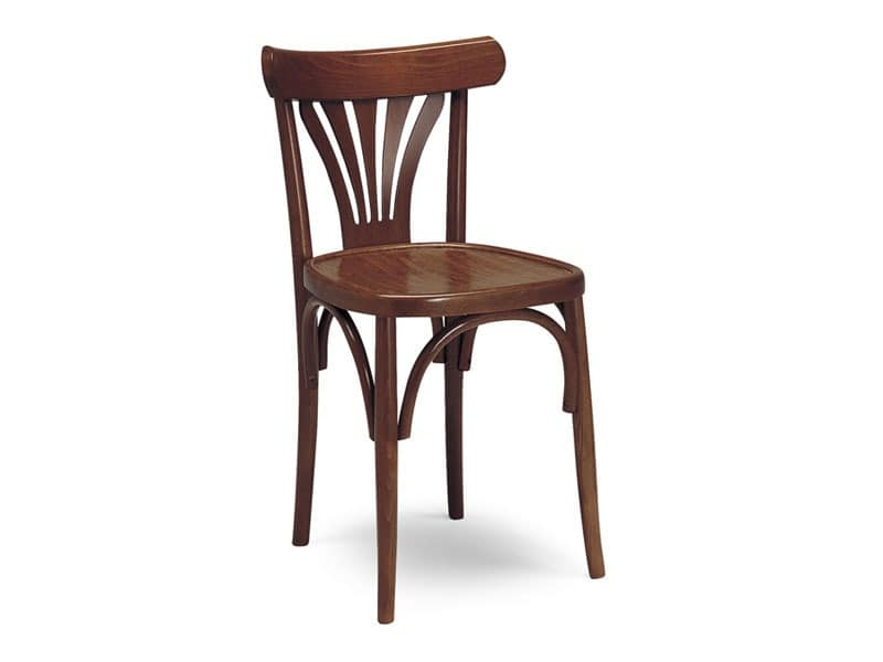 136, Wooden chair, backrest with vertical decorations