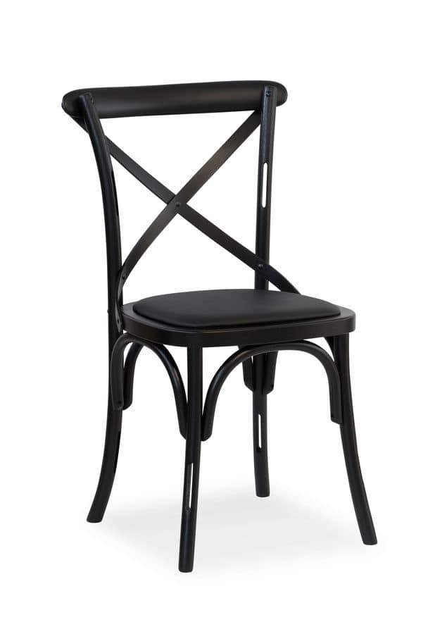 Ciao H, Chair in solid wood, seat covered in fabric